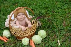 Petit bébé garçon mignon dans le costume du lapin se reposant sur l'herbe dans le panier avec le chou et la carotte Photo libre de droits