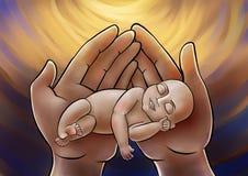 Petit bébé sur les mains de mères Photographie stock