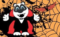 Petit backgorund mignon de Halloween de costume de Dracula d'étreinte d'ours panda illustration stock