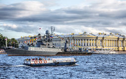 Petit bateau anti-sous-marin Kazanetz, St Petersburg, Russie Photo stock