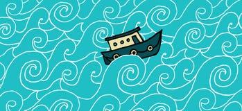 Petit bateau croisant une mer variable Illustration Libre de Droits