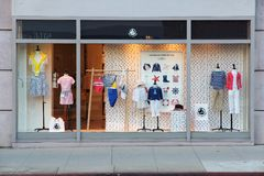 Petit Bateau kids fashion. LOS ANGELES, USA - APRIL 5, 2014: Petit Bateau store in Beverly Hills. Petit Bateau is a French brand of baby and children clothes Royalty Free Stock Photo