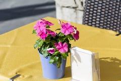 Petit beau bouquet des fleurs roses pour la décoration de table de restaurant Photos stock