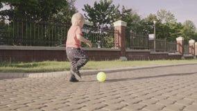 Petit beau garçon jouant avec la boule en parc Mouvement lent clips vidéos