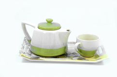 petit blanc de théière de thé de café Images libres de droits