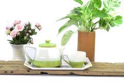 petit blanc de théière de thé de café Photo libre de droits