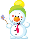 Petit bonhomme de neige avec l'oiseau d'isolement Photographie stock libre de droits