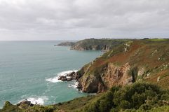 Petit Bot Bay from Icart Point on Guernsey Stock Photography