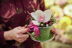 Petit bouquet avec la grande orchidée blanche Photos libres de droits