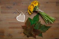 Petit bouquet des pissenlits jaunes, carte de souhait de coeur, feuilles de vert ` S de jardin photo stock