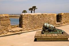Petit canon sur le mur de fort Photographie stock libre de droits