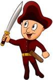 Petit capitaine avec le personnage de dessin animé d'épée Images libres de droits