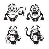 Petit caractère original noir mignon drôle de vecteur de monstre Photographie stock libre de droits