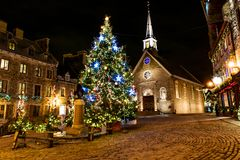 Petit Champlain at Lower Old Town at night on christmas event royalty free stock photos