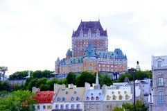 Petit Champlain Québec city under cloudy sky stock image