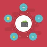 Petit changement plat d'icônes, machine de guichet, diagramme de barre et d'autres éléments de vecteur Ensemble de symboles plats Photo stock