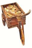 Petit chariot avec de l'argent sur le blanc Photo stock