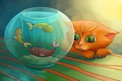 Petit chat regardant des poissons Photographie stock libre de droits