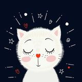 Petit chaton blanc mignon Illustration de vecteur illustration libre de droits