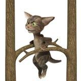petit chaton 3D tigré pelucheux Illustration de Vecteur