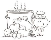 Petit chef avec un pot de ébullition géant Image libre de droits