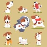 Petit chiot mignon dans son ensemble evereday d'activité, caractère coloré drôle courant quotidien de chiens illustration de vecteur
