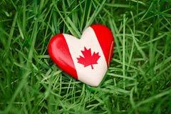 petit coeur avec la feuille d'érable canadienne blanche rouge de drapeau se situant dans l'herbe sur le fond vert de nature de fo Image libre de droits