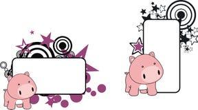 Petit copyspace doux de bande dessinée de porc de bébé Images libres de droits