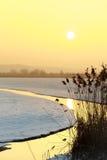 Petit courant coulant à l'hiver pendant le lever de soleil Photographie stock