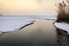Petit courant coulant à l'hiver pendant le lever de soleil Images libres de droits
