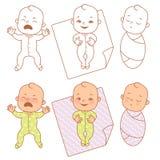 Petit cri mignon de bébé, sourire, sommeil illustration de vecteur