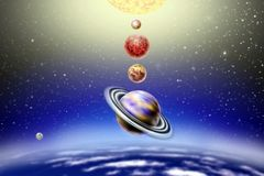 Petit défilé annuel des planètes illustration libre de droits