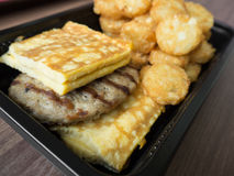 Petit déjeuner américain de nourriture industrielle malsain photo stock