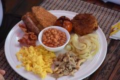 Petit déjeuner anglais typique au Laos Photo stock