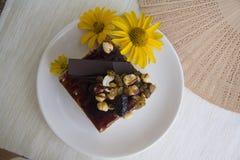 Petit déjeuner avec le gâteau de choco Images libres de droits