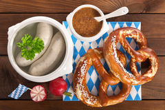 Petit déjeuner bavarois de saucisse de veau Images stock