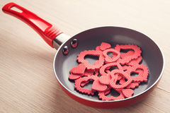 Petit déjeuner créatif avec des coeurs Images stock