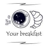 Petit déjeuner délicieux, tasse de café sur le dessus Cappuccino et croissant sur le dessus croquis Illustration de vecteur Photo libre de droits