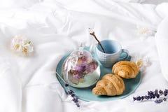 Petit déjeuner dans le lit photo libre de droits