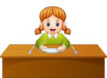 Petit déjeuner de attente de bande dessinée mignonne de petite fille sur la table de salle à manger illustration de vecteur
