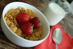 Petit déjeuner de fraise de céréale images libres de droits