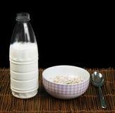 Petit déjeuner de Muesli dans un arc, une cuillère et un lait photographie stock