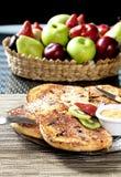 Petit déjeuner de tequila de frut de gâteaux chauds Photographie stock libre de droits