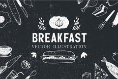 Petit déjeuner de vecteur, illustration tirée par la main de nourriture illustration stock