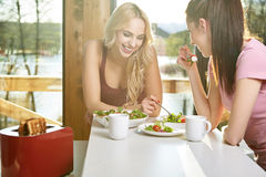 Petit déjeuner deux appréciant femelle à la maison ensemble Photos stock