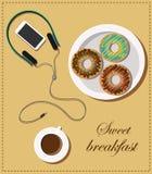 Petit déjeuner doux d'illustration courante avec des butées toriques de plat, de tasse de café et d'écouteurs avec le téléphone illustration libre de droits