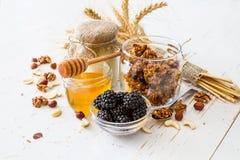 Petit déjeuner - granola, yaourt, baies, écrous, miel, blé Photos stock