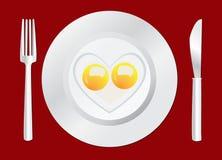 Petit déjeuner heureux d'oeufs au plat Image libre de droits