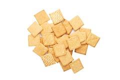 Petit déjeuner léger, biscuits d'isolement, vue supérieure Photo stock