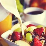 Petit déjeuner Muesli, café noir et orange Juice Concept Image stock